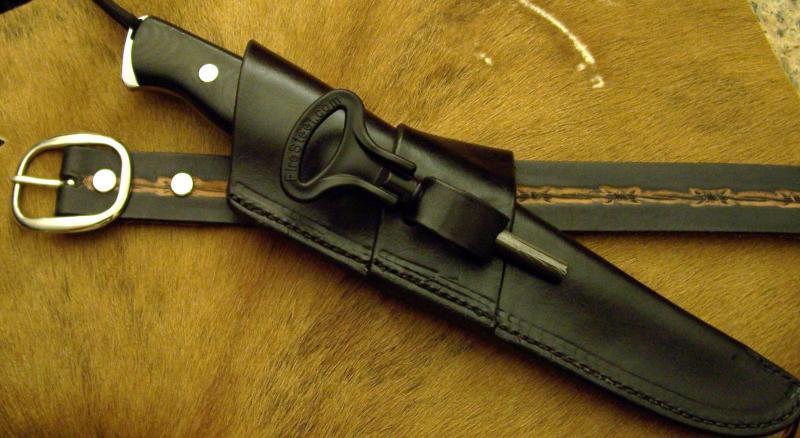 Custom Knife Sheath Fire Steel Loop Sideways Crossdraw Carry