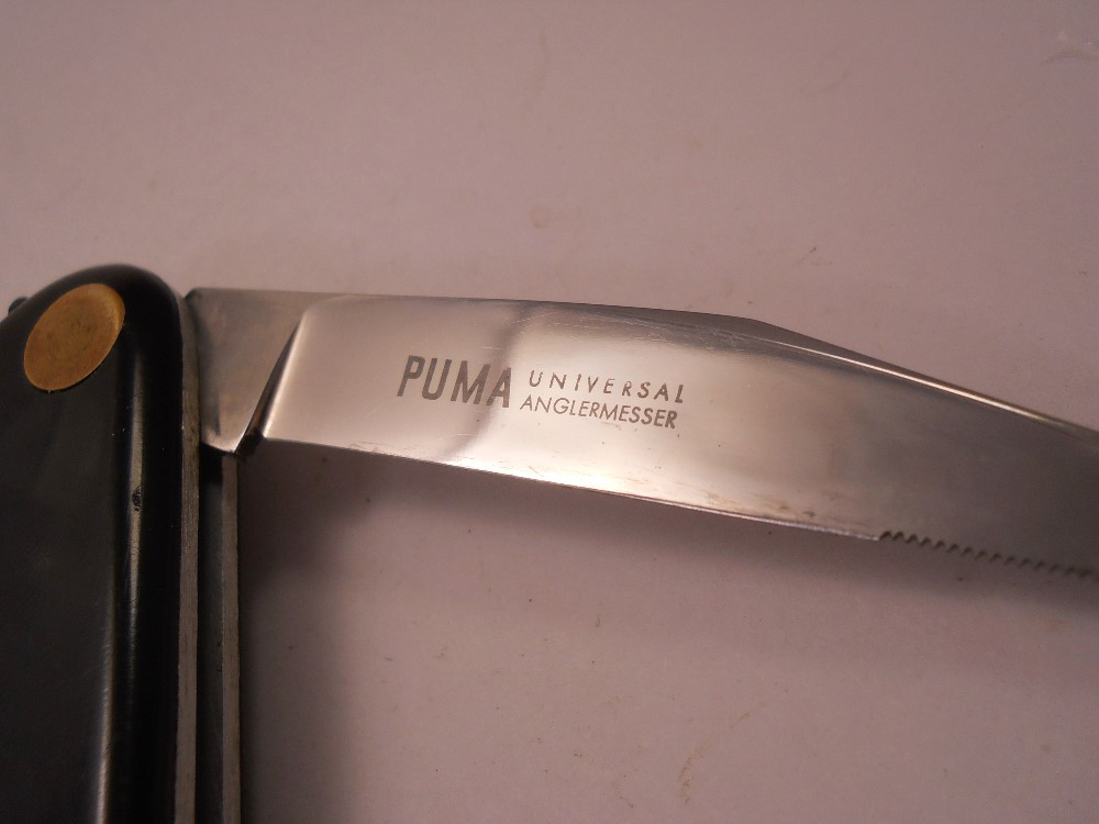 puma knives dating 1 rare puma 3587 nicker small hunting knife this puma knife was made before the year 1964 as there is no date stamp on the guard this antique puma would make an important addition to any collection the blade is etched 'puma nicker vom waidbesteck nach oberforstmeister frevert inox bestno3587 germany handarbeit.