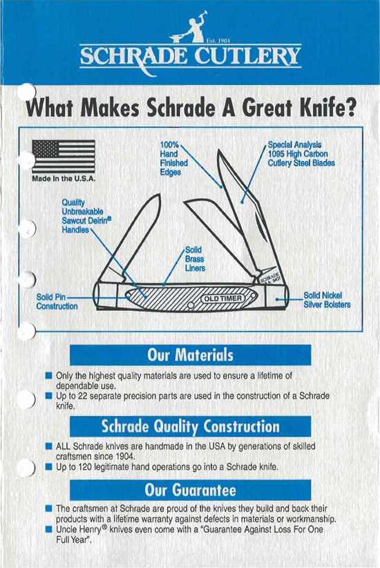 Schrade Knife Bill Of Rights Page 1