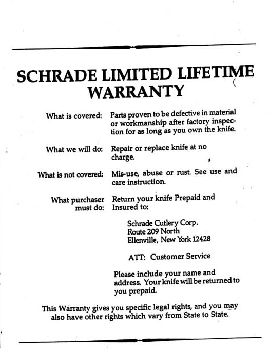 Schrade Limited Lifetime Warranty