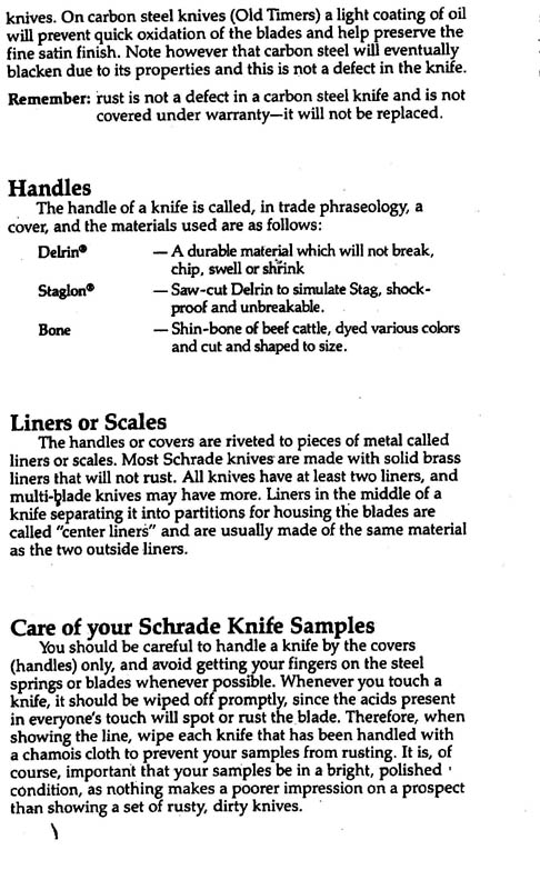 Schrade Knife Handles, Liners & Scales