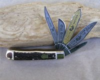 Bulldog Brand 5 Blade Genuine Stag Trapper Knife