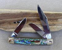 Bulldog Brand Genuine Heart Abalone Stockman Knife