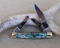 Bulldog Brand Prototype Genuine Heart Abalone Stockman Knife