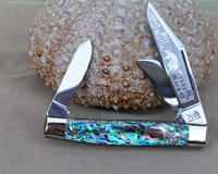 Bulldog Brand Heart Abalone Stockman Knife