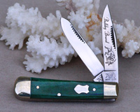 Bulldog Brand Green Giraffe Bone Baby Bullet Trapper Knife