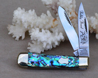 Bulldog Brand Genuine Heart Abalone Baby Bullet Trapper Knife