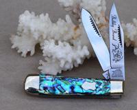 Bulldog Brand Genuine Heart Abalone Baby Bullet Trapper Knife