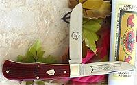2006 Great Eastern Cutlery red diamond back bone pioneer knife