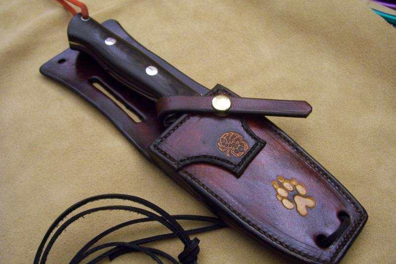 Item 23295 custom leather knife sheath for 5 quot fixed blades
